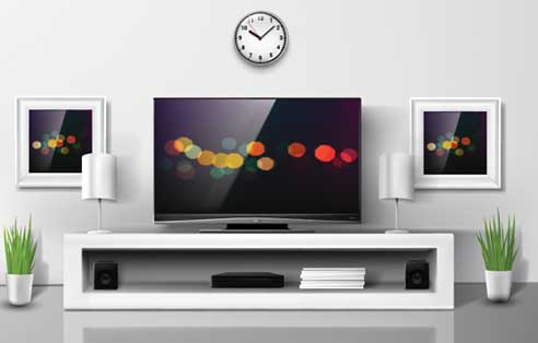 """a picture elaborating clocks on top of tv to better answer """"Which Direction Should A Wall Clock Face?"""""""
